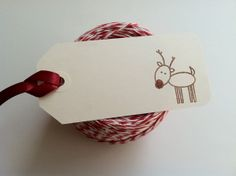 6 Reindeer Christmas Gift Tags with Satin by PaperTrailbyLauraB, $12.50