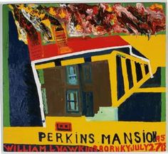 William L. Hawkins (Union City, Kentucky, 1895 - 1990, Columbus, Ohio) Perkins Mansion , 1985  Enamel on fiberboard 42 in. x 46 1/2 in. Collection of the Akron Art Museum. Purchased with funds from Elizabeth Firestone Graham Foundation, Contemporary Art Society of Akron, and Museum Acquisition Fund