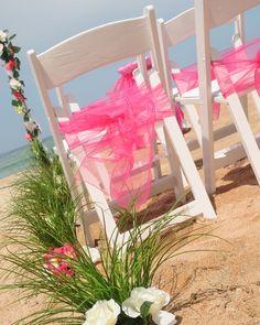 White Wedding Chairs, Pink Fuchsia Organza Chair Sash, Bow Sashes, Pink White Rose Flower Aisle, Ceremonies by the Sea, Beach Wedding