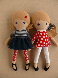 Reserved for Megan  Fabric Dolls Rag Dolls Twin by rovingovine, $76.00