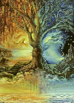 """"""" Æthereal Love """" ~ Akâsh Dhåãm ∆The Æthereal Abode∆Artwork Credit """" Tree Of Day and Night By Artist Josephine Wall"""" __()__ Love Magical Pictures, Fairy Pictures, Illusion Kunst, Illusion Art, Fantasy Kunst, Fantasy Art, Art Et Nature, Josephine Wall, Fantasy Paintings"""