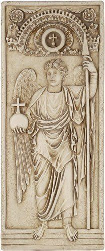 Archangel Michael Standing in Majesty Byzantine Wall Relief, Stone by Museum Store Company. $37.95. Material: bonded stone. Weight: 5 lbs, ship wt: 8 lbs, ship box: 19x13x7. Size: 13 x 5.5 x .5. Type: Precision Museum Store Company replica/reproduction wall plaque. Adapted from an ancient original in the British Museum, London 525 - 550 A.D. Original was carved in ivory as half of a diptych from Constantinople in the Byzantine style. It shows the characteristics of classical ...