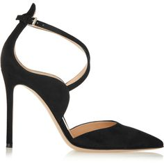 Gianvito Rossi - Suede Pumps ($537) ❤ liked on Polyvore featuring shoes, pumps, heels, black, black shoes, black pointy-toe pumps, pointed toe pumps, high heel shoes and high heel pumps