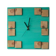 Wood wall clock Deco Astral / Geometric mosaic / Turquoise clock painting ▀▄ ▀▄ ▀▄ Limited edition colletion - Me and Time To work with a material as wood, to give it geometrical shapes, its like telling a story. A story without words, which starts from pure passion for volumes and
