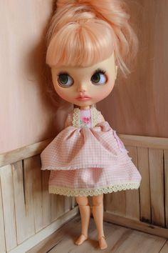 Shabby Chic Style Dress For Blythe - Summer dress for blythe, blythe outfit, blythe dress, handmade by ShelsTinyCreations on Etsy