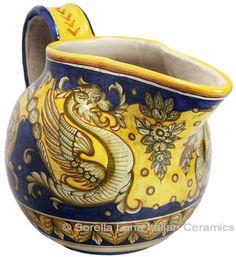 Ceramic Majolica Pitcher Medieval Dragon 46cm