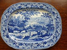 Rare Swansea Pearlware Blue AND White Transferware Platter 1820 30 | eBay Nice example of the Ladies of Llangollen pattern, you can see all the details