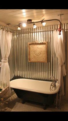 Galvanized steel claw foot tub surround