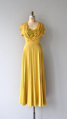Autumn Corymb dress 1930s long dress vintage 30s by DearGolden