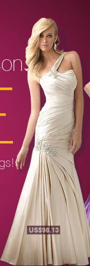 Glamorous Stretch Satin Princess One Shoulder Long Prom Dress / Gown