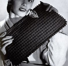 Gimp Bag No. 4824 crochet pattern from Handbags, originally published by Jack Frost Yarn Company, Volume No. Crochet Clutch Bags, Crochet Purse Patterns, Handbag Patterns, Crochet Handbags, Crochet Purses, Vintage Crochet Patterns, Vintage Knitting, Crochet Books, Thread Crochet
