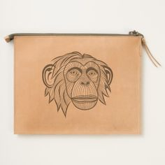 Illustrated Monkey Design Travel Pouch