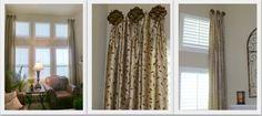 Living room drapes mounted on drapery hold backs.