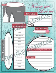 """Printable Primary Presidency 2016 Calendar Planner ADD-ON """"Getting To Know Me Questionnaire"""" I Know The Scriptures Are True by templesquares on Etsy"""