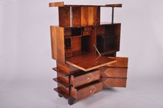 View this item and discover similar for sale at - A superb example of Hungarian art deco furniture making. Art Deco Desk, Art Deco Furniture, Furniture Storage, Furniture Making, Art Et Architecture, Modern Cabinets, Walnut Veneer, Desks, Collages