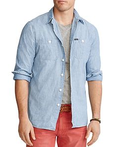 $125.0. POLO RALPH LAUREN Top Classic Fit Sportsman Shirt #poloralphlauren #top #shirt #down #clothing Denim Button Up, Button Up Shirts, Work Shirts, Ralph Lauren Tops, Chambray, Men Casual, Mens Tops, Point Collar, How To Wear