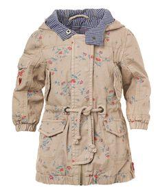 Sand Floral Hooded Jacket