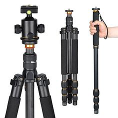 Introducing AW Professional Carbon Fiber Adjustable DSLR Camera Tripod Monopod w Ball Head For Travel Video Studio. Great product and follow us for more updates!