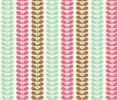 Vines Pink Blue Brown fabric by midcenturymaude on Spoonflower - custom fabric
