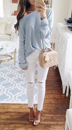 Blue sweater, white jeans, blush crossbody
