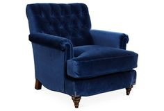 Miles Talbott Collection | Acton Tufted Club Chair, Indigo Velvet | $1,495 retail as shown