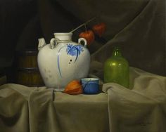 """Water Jug and Chinese lantern"" [Sold] By Mina de la Cruz, from the Philippines (current location, Canada) [from her Gallery ""Still Lifes""] - oil on linen; 16 x 20 in - http://www.minadelacruz.com/index.php"