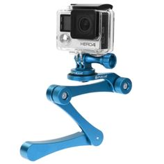 PULUZ CNC Foldable Selfie Stick Handheld Grip for GoPro HERO4 Session /4 /3+ /3 /2 /1, Xiaoyi, SJ4000, SJ5000, SJ6000(Blue)