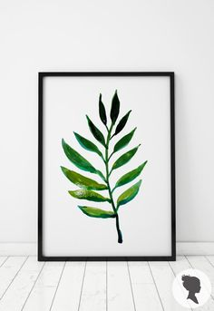 Watercolor Leaf Print Botanical Poster W005 by Livettes on Etsy