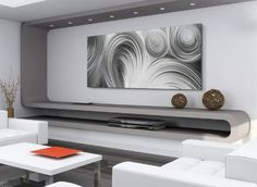Amazon.com - Metal Wall Art 'Conduction Composition' - 48x19 in. - Modern Metal Artwork - Contemporary Metallic Art, Abstract Grind Pattern HD Metal Giclee - Wall Sculptures