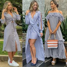 La imagen puede contener: 3 personas, personas de pie y exterior Simple Dresses, Summer Dresses, Fiesta Outfit, Collared Shirt Dress, Weekend Outfit, Couture, Linen Dresses, I Dress, African Fashion