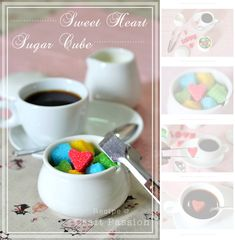 Sweet Heart Sugar Cubes 1/4 cup fine granulated white sugar 1/2 teas water (boiled+cooled).1 or 2 drops of food color. mini heart cookie cutter or candy mold.( scissors + pc. of cereal cardboard , if using cookie cutters. ) cut to fit inside cookie cutter - use to smooth out the sides of sugar shapes -lay on top gently press. slowly remove cube from cutter set on cookie sheet to harden.