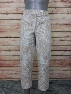 Talbots cropped pants modern fit leaf print cotton spandex womens size 12  #Talbots #CaprisCropped