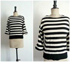 Vintage 80's Sailor Black & White Striped par CeliaVintageStars