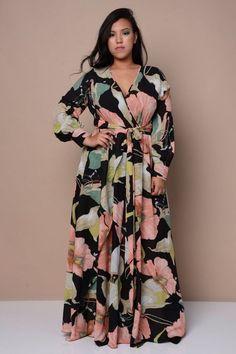 Art Nouveau Surplice Dress – Plus Size Women's Clothing Dress Plus Size, Plus Size Maxi Dresses, Plus Size Outfits, Casual Dresses, Fashion Dresses, Dresses Dresses, Best Maxi Dresses, Resort Dresses, Beach Dresses