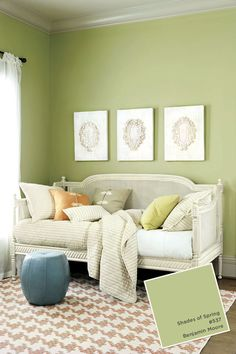 We're digging this fresh, spring green to inject color into a space.   Benjamin Moore's Shades of Spring