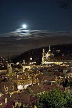 Moon rise over Prague - Czech Republic