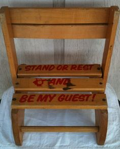 Wooden Childrens Combination Step Stool And Chair, Stand Or Rest And Be My Guest