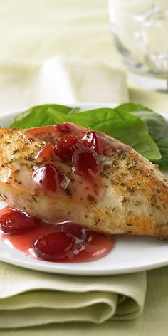 Savory chicken with a sweet and tart cranberry sauce