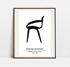 Cherner Chair Poster  Black and White Art Print  by Postery