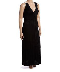Love this Meetu Magic Black & Beige Lace-Back Maxi Dress - Plus by Meetu Magic on #zulily! #zulilyfinds