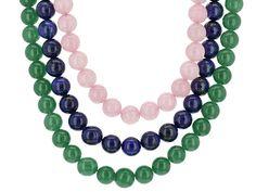10mm Round Lapis Lazuli, Rose Quartz, And Green Onyx Strands Sterling