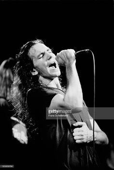 Eddy Vedder performs with Pearl Jam on February 12th 1992 at the Melkweg in Amsterdam, the Netherlands.