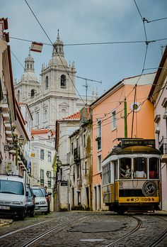 Street Tram 28 in Alfama - Lisbon, Portugal Places Around The World, Travel Around The World, Around The Worlds, Most Beautiful Cities, Beautiful Buildings, Lisbon City, Portuguese Culture, Spain And Portugal, Famous Places