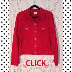 COLOR ME COTTON JEANS JACKETwill drop 20%! Fun red CLICK Jeans jacket by COLOR ME COTTON. Really cute buttons and even includes extras! 100% cotton, washable. Says size Medium but I think this would also fit a large. Color Me Cotton Jackets & Coats
