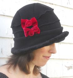 Polar Fleece Flapper Hat Black Vintage Style Cloche by hatjunkie 39fa58401d