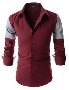 Showblanc (SBDST3) Man Slim Fit 2 Tone Colored Shoulder Casual Cotton Shirts RED US XS(Tag size M)