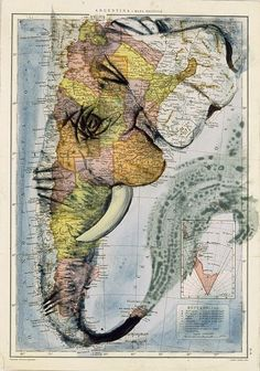 animal art projects - cARTography Old History and New Trends in Map Art Elephant Love, Elephant Art, Kunst Online, Online Art, Creation Art, Illustration, Old Maps, Antique Maps, Art Plastique