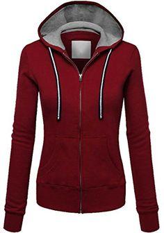 a3138511078 Pandapang Women s Stylish Zip Drawstring Hoodie Fleece Jacket Sweatshirt