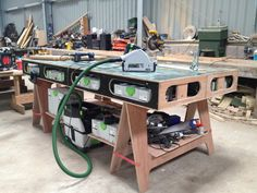 The Paulk Workbench. Those Festool Boxes fit nicely! The Paulk Workbench. Those Festool Boxes fit nicely! Paulk Workbench, Portable Workbench, Workbench Plans, Woodworking Workbench, Woodworking Tips, Workbench Stool, Workbenches, Workshop Bench, Garage Workshop