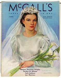 1936 McCall's magazine cover with illustration by Neysa McMein Vintage Tags, Vintage Bridal, Vintage Weddings, Romantic Weddings, Vintage Paper, Old Magazines, Vintage Magazines, Magazine Art, Magazine Covers